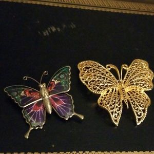 Jewelry - Vintage butterfly brooches